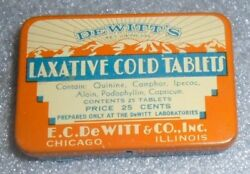 Old Dewitt's Laxative Cold Tablet Medical Tin Mint Full