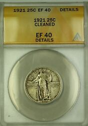 1921 Standing Liberty Silver Quarter 25c Coin Anacs Ef-40 Details Cleaned