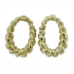 Hammered Gold Twist Hoop Earrings