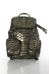 Designer Metallic Gold Python Drawstring Small Backpack Handbag New