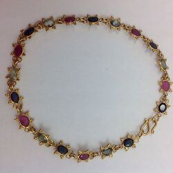 VINTAGE ANTIQUE SAPPHIRE RUBY EMERALD 18K GOLD FLOWER BRACELET