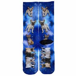 Memo Socks- French Bulldog Blue Galaxy ! dog puppy space stars sock elite elites