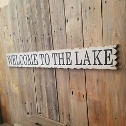 Welcome To The Lake/rustic/carved/wood/sign/cabin/lodge/boat Dock/marina/décor