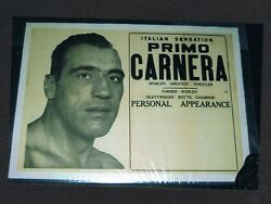 Extremely Rare Primo Carnera Boxing Poster W/giant Head Shot Appearance Poster