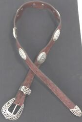 Texas Leather Belt Women Size 30 Hand Finished Brown Silver Stud Inlay Ostrich