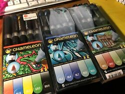 chameleon color tones 3 sets: Primary Blue and Nature 15 dual tips pens