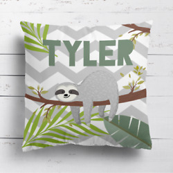 Personalised Sloth Kids Childrens Cushion Cover Pillow Case Filling Bedroom