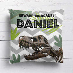 Personalised Dinosaur Kids Childrens Cushion Cover Pillow Case Filling Bedroom