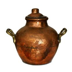 Rustic Copper Bowl Pot With Lid Brass Handles Hand Hammered 1930-1940