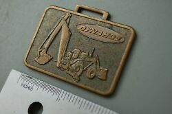 Dynahoe Backhoe Loader Vintage Watch Fob Advertising Tractor Brass Plated Gift