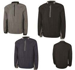 Menand039s 1/2 Zip Pullover Windshirt Water Resistant Lined Pouch Pocket S-5xl