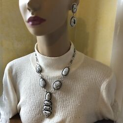 White Buffalo Sterling Silver Necklace And Earrings Set Navajo Aj And Tbyrd 1092