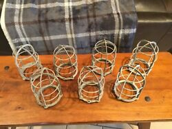 Vintage Explosion Proof Brass Cage Industrial Light - Lot Of 7 - Cages And Globes
