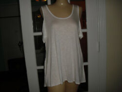SWELL TEAS BY PINK ROSE WHITE TANK COLD SHOULDER 5%SPANDEX 95%RAYON SIZE L $16.99