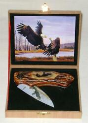 WILD OUTDOORS COLLECTORS ED FOLDING BLADE PAINTED EAGLE KNIFE WOODEN DISPLAY BOX