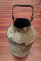 Vintage Galvanized Steel Dairy Farm Milk Can Container 5 Gallons Heavy Gauge