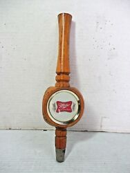 Miller High Life Beer Pub Style Tap Wooden 3 Sided Handle Keg Tapper Faucet