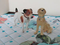 Vintage Dog Figurines Hagen-Renaker Jack Russell & Yellow Lab
