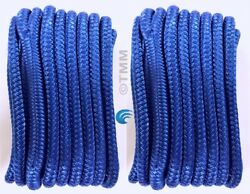 2 Blue Double Braided 1/2 X 15' Hq Boat Marine Dock Lines Mooring Rope Cord