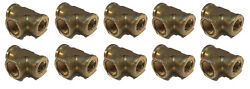 10 Pack Brass Forged Reducing Tee Fitting 3/8 X 1/4 X 3/8 Female Npt Fnpt Wog