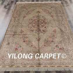 YILONG 6'x9' Handknotted Silk Carpet Persian Family Room Oriental Home Rug 648A