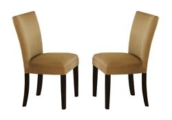 Contemporary Style Gold Parson Dining Room Chairs 4pc Set Cappuccino Wood Legs