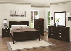 Contemporary Cappuccino 4pc Bedroom Set Full Size Bed Dresser Mirror Nightstand