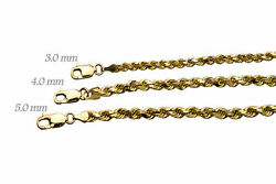 Solid 14k Yellow Gold 3mm-5mm Rope Chain Link Pendant Necklace Men Women 16-30
