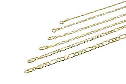 14k Solid Yellow Gold Figaro Link Chain Necklace 1.5mm -11.5mm Sz 16-30