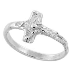 Sterling Silver Tiny Crucifix Cross Ladies Ring Polished Finish 3 8quot; wide $22.99