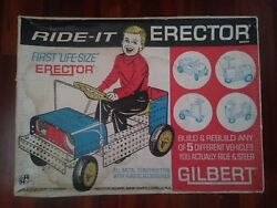 Vintage Ride It Em Ride On Erector Set By Gilbert Jeep Metal 1965 In Box Pedal