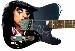 Alice Cooper Signed Custom Graphics Blood Stained Guitar Acoa Racc Ts Aftal Uacc