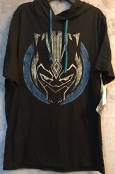 NEW Men's Marvel Comics Black Panther Hooded Hoodie T-Shirt Size Large