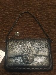 Chanel Lambskin Quilted Black Silver Metallic Mineral Nights Wristlet Clutch Bag