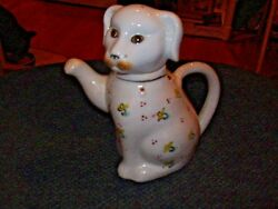 Dog Teapot  or Creamer  with Floral pattern  Ceramic and marked Made in China