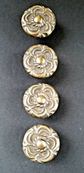 4 Antique Vintage Style French Provincial Brass Floral Knobs Pulls Handles K19