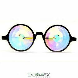 GloFX Black Kaleidoscope Opticals Rainbow Wormhole Round Circular Crystal Lens $34.99