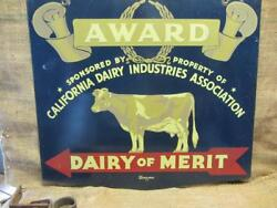 Vintage Double Sided 1978 Cow Dairy Award Sign And Hanger Antique Farm Rare 9865