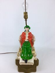"""Rare Vintage Asian Porcelain Woman Lady Statue Figurine Lamp Signed """"stafford"""""""