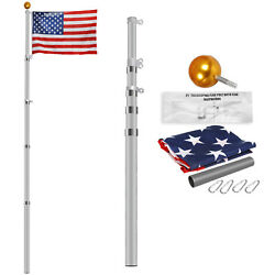 16ft 20ft 25ft Aluminum Secctional Flagpole Kit Outdoor Gold Ball And Us Flag New