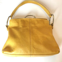 ALFANI Small Medium Yellow Leather Shoulder Hobo Tote Satchel Slouch Purse Bag
