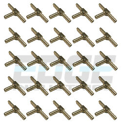 25 Pieces 3/16 Hose Barb Tee Brass Pipe 3 Way T Fitting Thread Gas Fuel Water