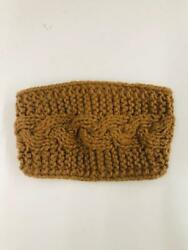 Cold-Weather Women's Camel Brown Cable Knit Ear Warmer Headband Adjustable