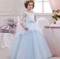 Kids Flower Girl Bow Princess Dress for Girls Party Wedding Bridesmaid Gown O68
