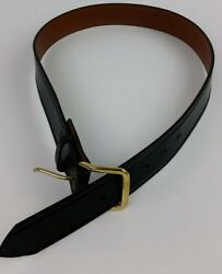 Don Hume Duty Belt B109 Size 34 Black Leather Brass Buckle Police Security Guard