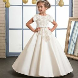 Kids Flower Girl Bow Princess Dress for Girls Party Wedding Bridesmaid Gown O99