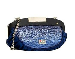 Authentic brand new MOSCHINO sparkling blue and gold evening clutch bag