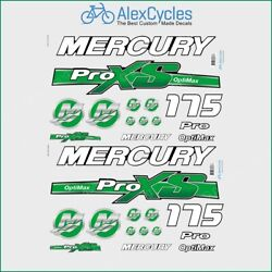Mercury 175 Hp Optimax Proxs Outboadrs Motor Green Laminated Decals Boat