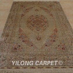 YILONG 6'x9' Persian Hand Knotted Silk Area Rug Washed Home Office Carpet 0976