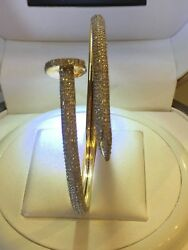 Pave 1.92 Cts Round Brilliant Cut Natural Diamonds Nail Bracelet In 14carat Gold